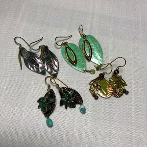 Four Pair Silver Forest Earrings